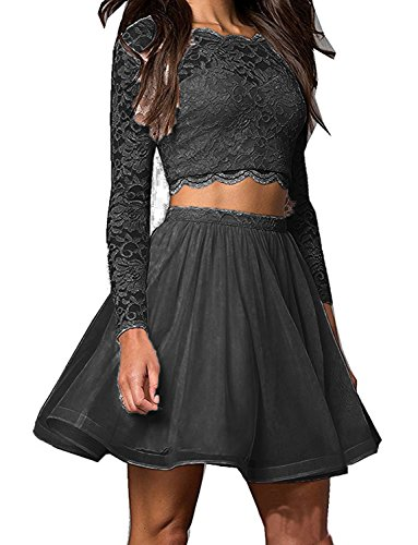 Lace Homecoming Black Gown Sleeves BD381 Ball BessDress Short Piece Dresses Two with dnq6T7