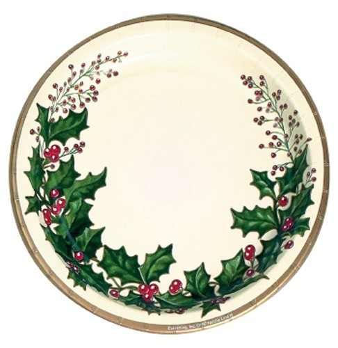 Creative Converting 79568 25 Count Winter Holly Paper Banquet Plates -