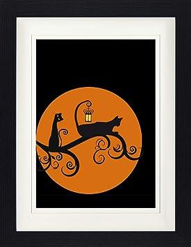 1art1® Gatos - Gatos Negros En La Noche De Luna Llena Póster De Colección Enmarcado (40 x 30cm): Amazon.es: Hogar
