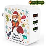 Quick Charge 3.0 Ezire 36W USB Wall Charger Santa Claus 3-Port USB Power Adapter with SmartID Compatible for Galaxy Note 5/4, S7/Edge, iPhone, iPad and More(Limited Christmas Holiday Edition)