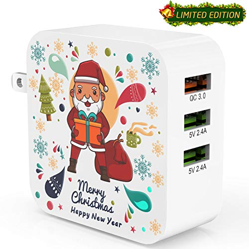 Quick Charge 3.0 Ezire 36W USB Wall Charger Santa Claus 3-Port USB Power Adapter with SmartID Compatible for Galaxy Note 5/4, S7/Edge, iPhone, iPad and More(Limited Christmas Holiday Edition) ()