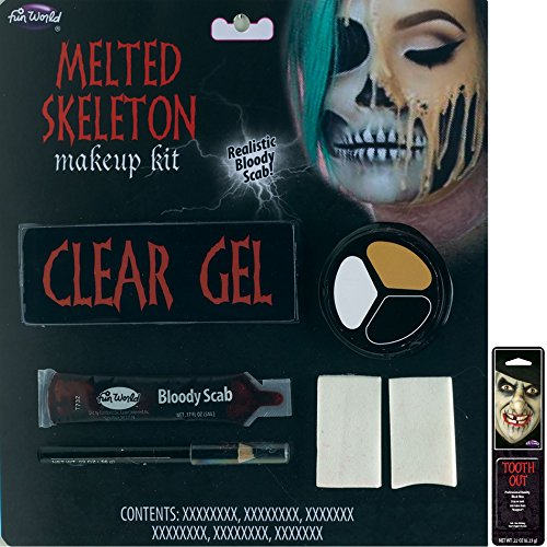 Potomac Banks Melted Faces Makeup Kit (Melted Skeleton) with Free Pack of Makeup -