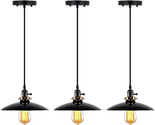 T A UFO Industrial Pendant Lights Edison Vintage Style,3 Light Kitchen Antique Brass Hanging Lighting Fixture Black