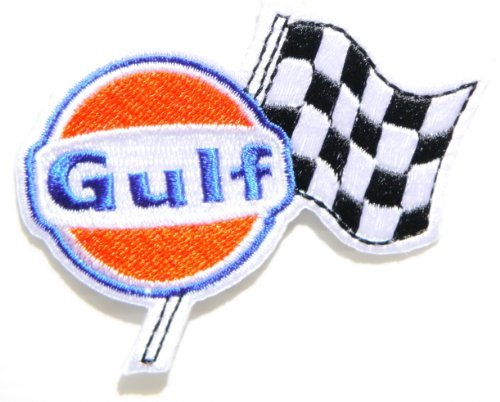 Gulf Motor Oil Fuel Gas Station Pump Logo Sign Racing Patch Iron on Applique Embroidered T shirt Jacket Costume BY SURAPAN (Best Pump Gas For Racing)
