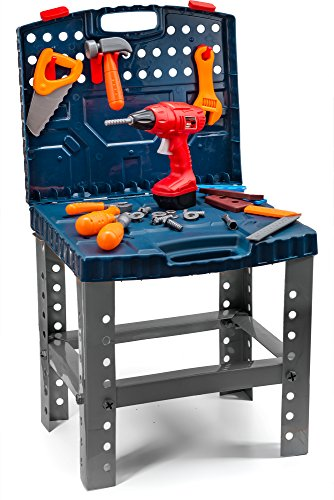 Toydaloo Toy Tool Set Workbench Kids Workshop Construction Workshop Toolbench. Building Toys with Realistic Tools and Electric Drill by