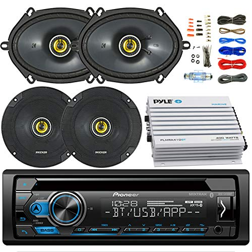 "Pioneer DEH-S4000BT Car Bluetooth Radio USB AUX CD Player Receiver - Bundle Combo with 2X Kicker 6.5"" 300W 2-Way Coaxial Speakers + 2X 6x8 450W Speaker + 4-Channel Amplifier + Amp Kit"