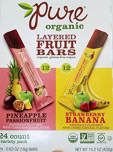 Pure Organic Layered Fruit Bars (Pineapple, Passionfruit and Banana), 24 Count