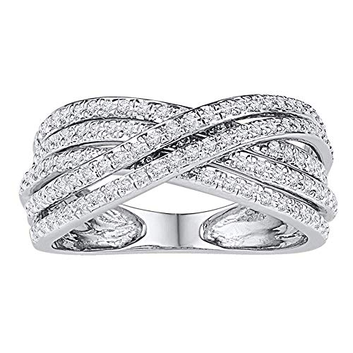 - Jewels By Lux 10kt White Gold Womens Round Diamond Crossover Five Row Band Ring 5/8 Cttw In Pave Setting (I2-I3 clarity; I-J color)