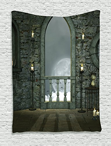 Ambesonne Gothic Decor Collection, Full Moon Birds Fairytale Fantasy Old Castle Balcony Candle and Night View, Bedroom Living Room Dorm Wall Hanging Tapestry, Grey Ivory Cream