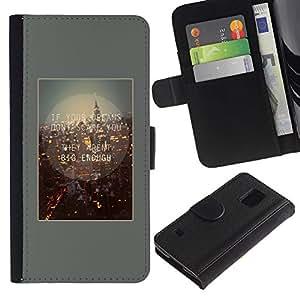 iKiki Tech / Cartera Funda Carcasa - City Quote Life Motivational - Samsung Galaxy S5 SM-G900