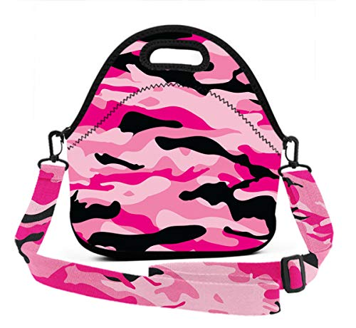 Premium Neoprene Military Army Camo Camouflage Black Pink Lunchbox women Handbag Insulated Thermal WaterproofGourmet Tote Pouch for Meal Prep, Reusable Container - Moisture Resistant ()