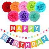 """LyButty """"Happy Birthday'' Banner Kit with 8 Colorful Tissue Pom Poms Paper Flowers and Colorful Paper Circles Garland for Birthday Party Decorations"""
