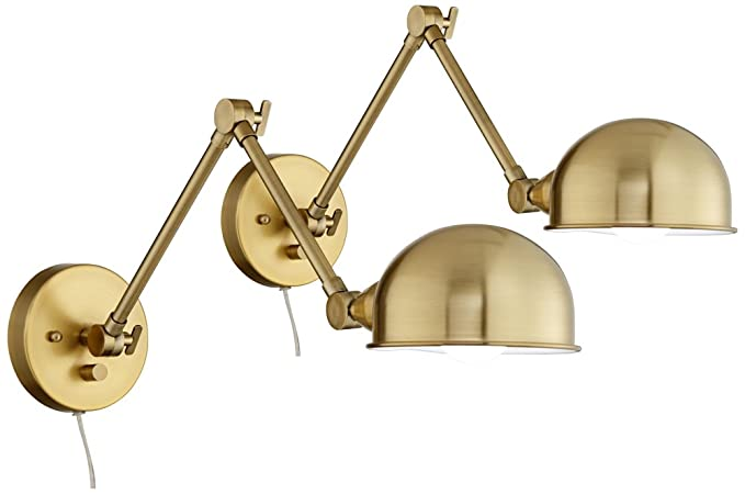 Somers antique brass led swing arm wall lamp set of 2 amazon somers antique brass led swing arm wall lamp set of 2 aloadofball Images