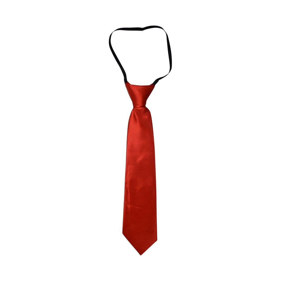 Solid Kid Necktie Pre-tied Elastic Ties for Boys MTKT0001GN