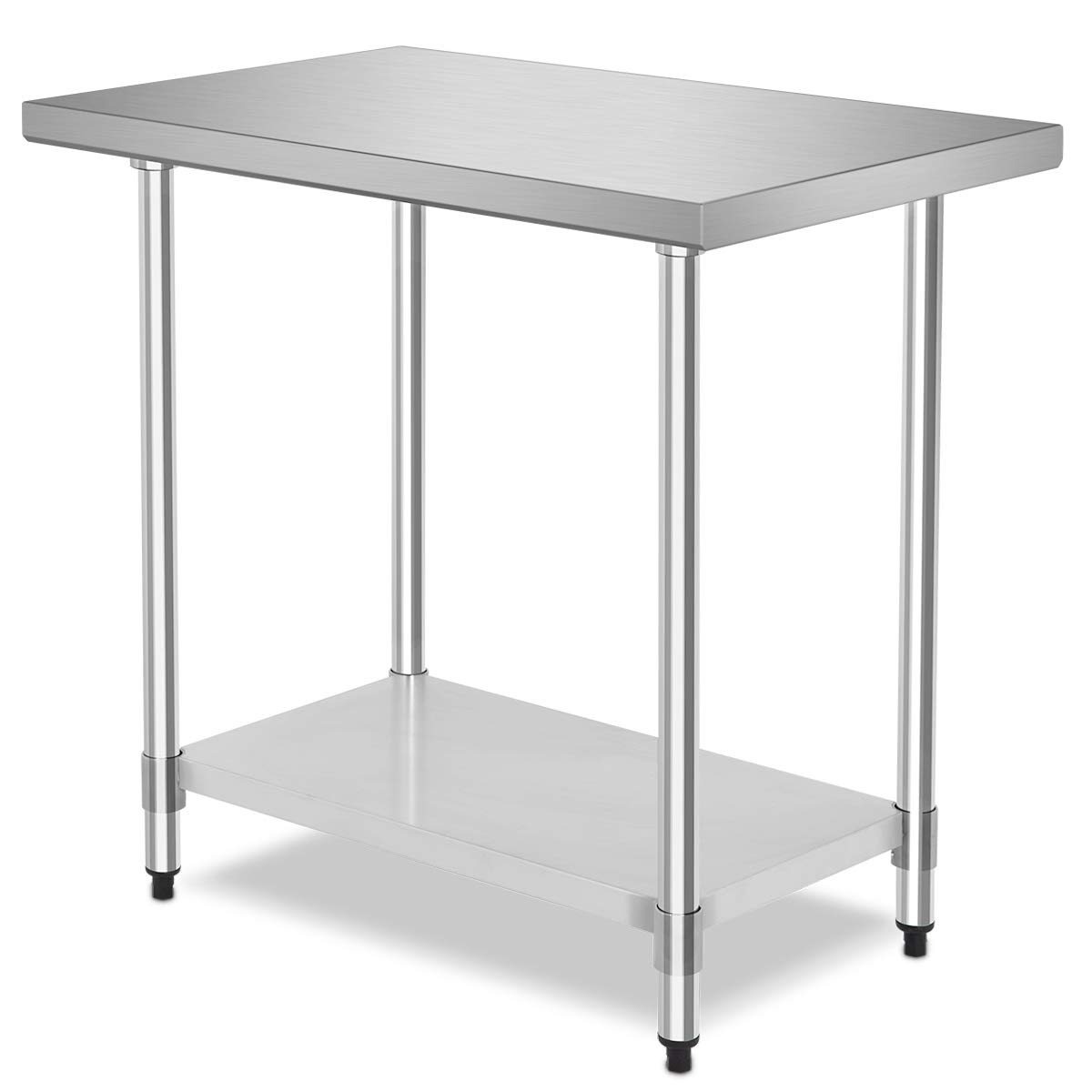 "36"" x 24"" NSF Stainless Steel Food Prep Table, Heavy Duty Commercial Kitchen Food Prep Table & Work Table, Wheels Installable, Adjustable Shelf, by WATERJOY"