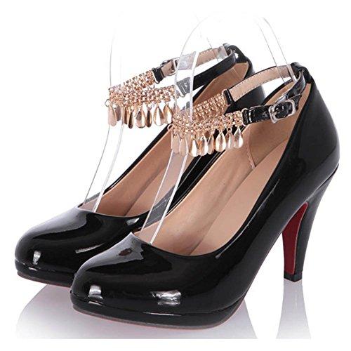 Chfso Donna New Round Toe Cinturino Alla Caviglia Fibbia In Metallo Catena Scarpe Basse Pompe Nere