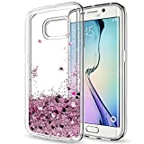 LeYi Galaxy S6 Edge Case with Screen Protector, Girl Women 3D Glitter Liquid Moving Cute Personalised Clear Transparent Silicone Gel TPU Shockproof Phone Cover for Samsung S6 Edge Rose Gold (Pink)