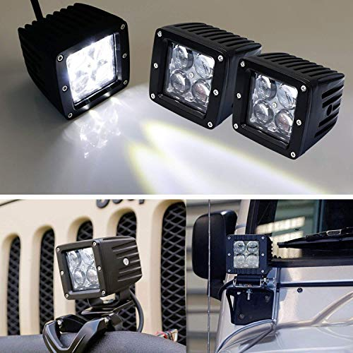 iJDMTOY (2) 20W High Power CREE 4D Optic 3-Inch Cubic LED Pod Lights For Truck Jeep Off-Road ATV 4WD 4x4, etc, Universal Fit ()