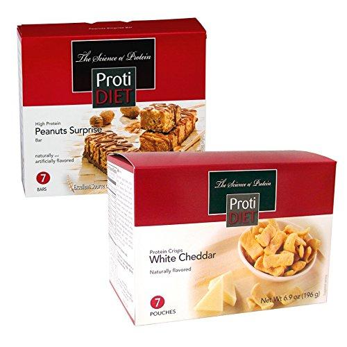 ProtiDiet High Protein Peanut Surprise Flavor BAR US 1x7 & White Cheddar Protein Crisps (7 Pouches)