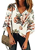 LookbookStore Women's V Neck Floral Print Mesh Panel Blouse 3/4 Bell Sleeve Loose Summer Top Shirt Ivory Size XX-Large