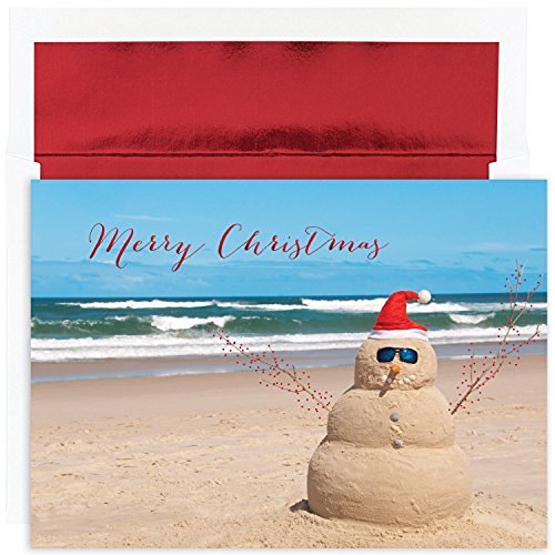 Masterpiece Studios Warmest Wishes Beach Snowman Greetings, 18 Cards/Foil Lined Envelopes (872400)