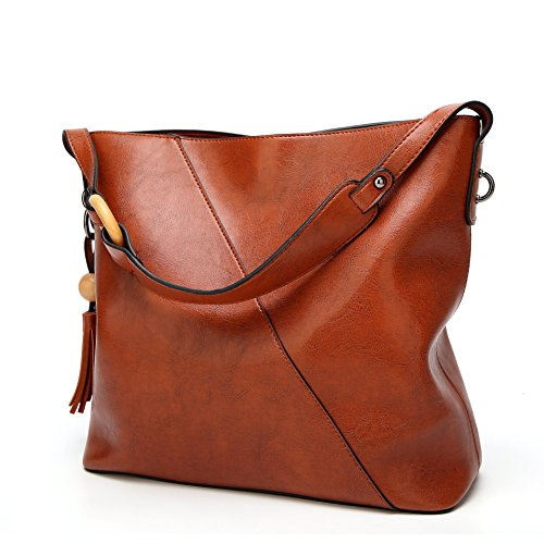 Obosoyo Women Shoulder Tote Satchel Bag Lady Messenger Purse Top Handle Hobo Handbags Brown Leather Small Hobo Bag
