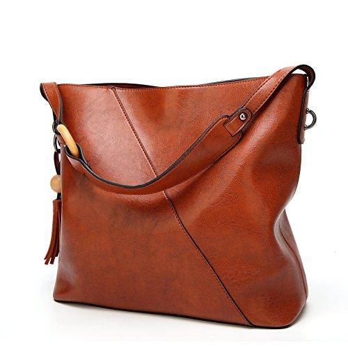 Obosoyo Women Shoulder Tote Satchel Bag Lady Messenger Purse Top Handle Hobo Handbags (Light Brown Leather Bag)