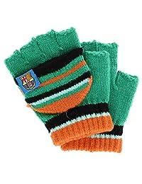 Foemo Kids 5-8 Knit Convertible Winter Mitten Gloves, Green