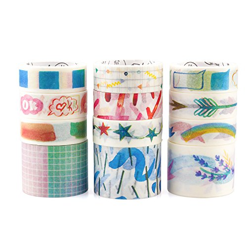 Decor Tape (Washi Tape Crafts Set,Decorative Masking Tape Set Decor with Multiple Patterns Binding Arts Tape Crafts for DIY Crafts and Gift Wrapping (Sunny Color))