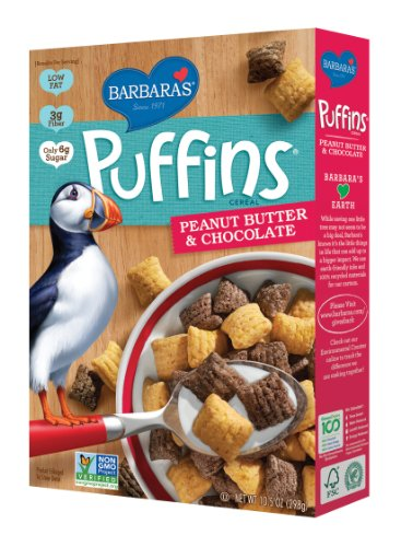 Barbara's Puffins Cereal, Peanut Butter & Chocolate, 10.5 Ounce (Pack of ()