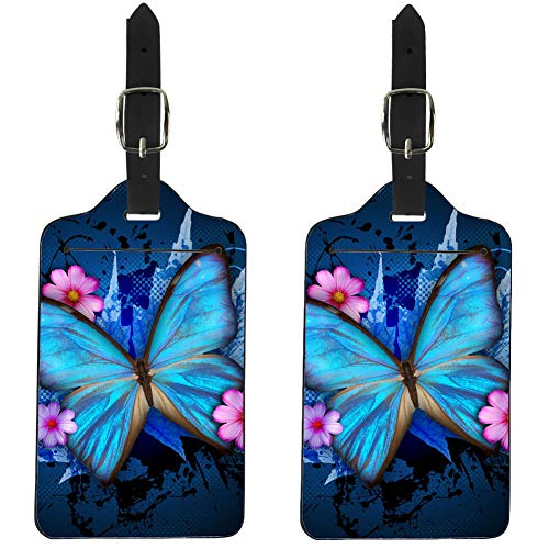 - Showudesigns Butterfly Blue Leather Luggage Tags Women Travel 2 Pieces Set Suitcase ID Tags