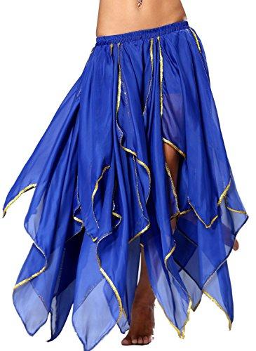 [Seawhisper Chiffon Fairy Fancy Skirt Belly Dance Skirt for Women with Sequin Side Split] (Dance Festival Costumes)