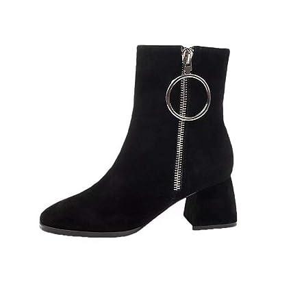 JUWOJIA Moda Mujer Zapatos Elegante Cremallera Mediados De Talón Botines Anillo De Hierro De Metal Punta
