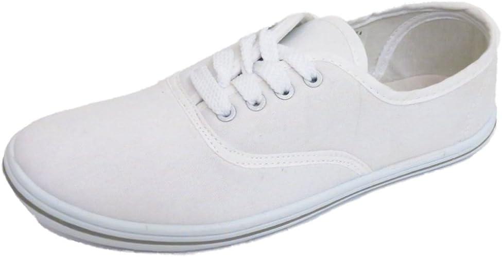 Ladies Lace-Up White Canvas Flat