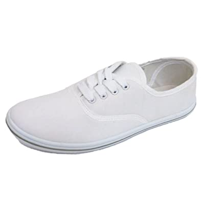 new arrival amazon online store Ladies Lace-Up White Canvas Flat Trainer Plimsoll Pumps Casual Shoes Sizes  3-7