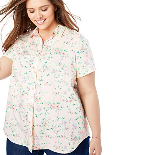 (Woman Within Women's Plus Size Perfect Short Sleeve Button Down Shirt - Pink Pretty Floral, L)