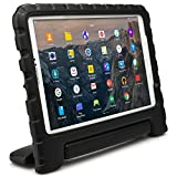 Samsung Galaxy Tab E 9.6 kids case, COOPER DYNAMO Heavy Duty Children's Rugged Tough Bumper Hard Protective Case Cover with Built-in Handle, Stand & Free Screen Protector (Black)