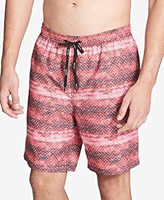 Calvin Klein Mens Large Printed Board Surf Swim Trunks Red L