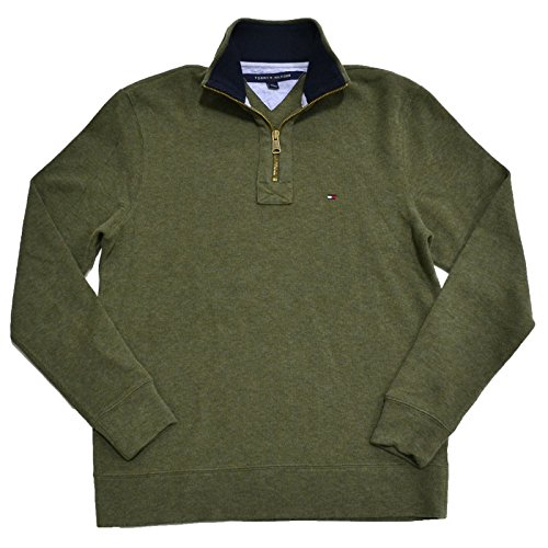 Mens Large Medium Neck Sweater (Tommy Hilfiger Mens Half Zip Mock Neck Sweater (Medium Moss, XX-Large))
