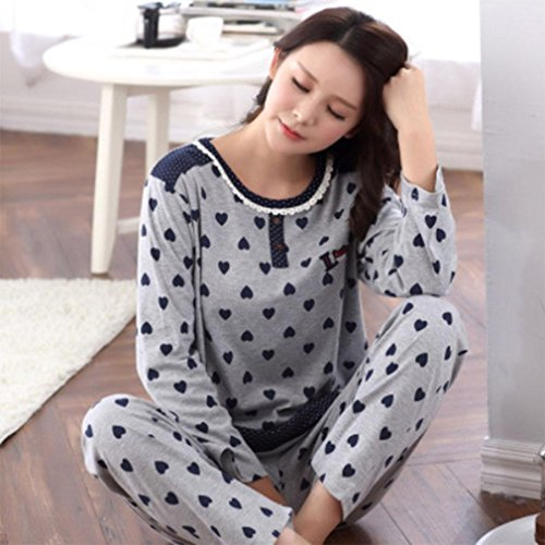Amazon.com: MOXIN Autumn and Winter ladies Pajamas Long Sleeves Set Lattice Home Service ?s-xxxxl? , S , B: Home & Kitchen
