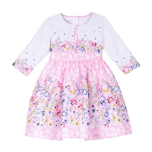 Multi Print Sweater - PIPPA & JULIE Baby Girls Border Print Dress with Sweater, Pink Floral Multi, 24M