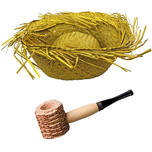 Natural Adult's Straw Beachcomber Hat + Corn Cob Pipe (Set of 2) - Funny Beach Themed Costumes
