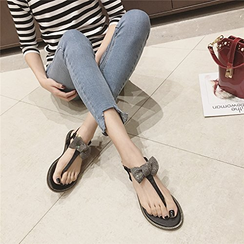 JUWOJIA Summer New Style Water Drill Bow Tie Flat Bottomed Sandals Bohemia Sweet Toe Sandals. green