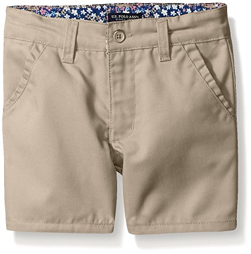 U.S. Polo Assn. Big Girls' Twill Short (More Styles Available), Khaki-AHEJ, 16 by U.S. Polo Assn.