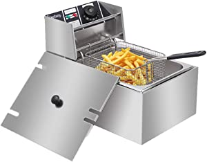 Deep Fryers for the Home with Basket, Stainless Steel French Fryer Countertop Kitchen Frying Machine Fryer Deep Fryer with Basket & Lid for Commercial Family Food Cooking Electric Deep Fryers(6L) (6L, Silver)
