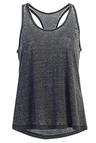 EttelLut Garment Washed Vintage Cool Loose Fit Tank Top Women and Juniors: Racerback Tank Tops For Women Black L