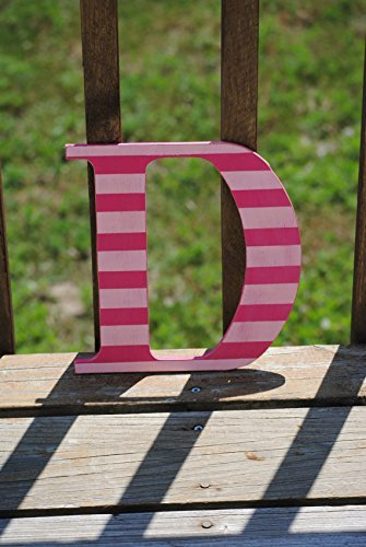 Distressed Striped Dark Pink and Light Pink Letter Decorative Letters, Girls Bedroom, Home Decor, Stripes (Letter Pink Striped)