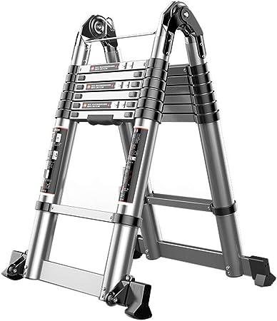 JLDN Extensión Escalerilla, La Escalera de Tijera Extensible telescópicas Antideslizantes aleación de Aluminio Multiuso,2.8M: Amazon.es: Hogar