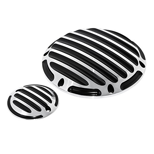 Chrome Derby Billet Covers (Senkauto Deep Cut Derby Cover and Timer Timing Covers for Harley Sportster XL Iron 883 1200 Nightster 2004 - Later (Chrome))