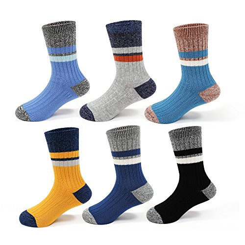 Boys Seamless Cotton Socks Kids Toddler Crew Socks (6 Pack)
